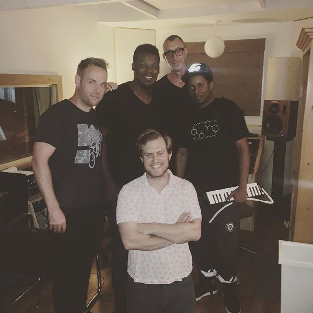 Recent pic of @keyonharrold @chrisdaddydave and #pinopalladino after a little last-minute tracking at the home studio with me and @frithmusic #jazz #willowcrestrecorders Also….Happy Belated Birthday to Keyon! What monster players these three are.